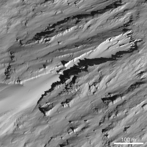 Erosional Trough on Crater Wall