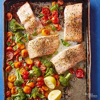 Roasted Salmon with Broccoli and Tomatoes.