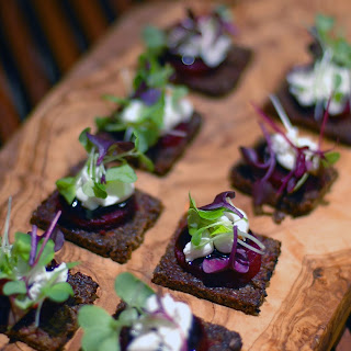 Goat Cheese & Baby Beet Canape with Balsamic Glaze & Micro Herbs Recipe