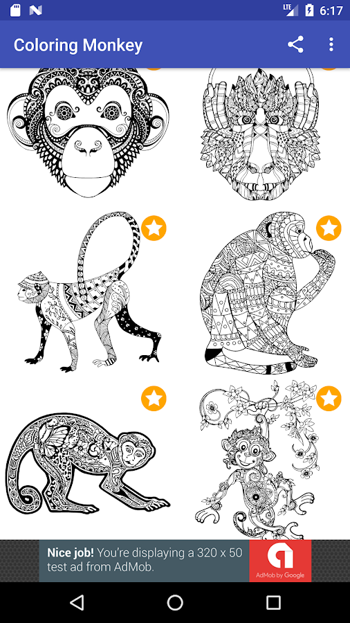 Monkey Coloring Book For Adults 2017 Free Screenshot