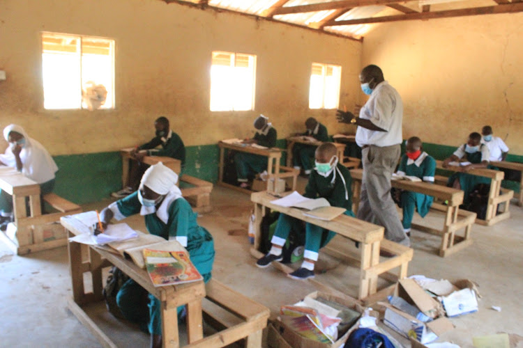 Lessons at Mwingi Primary School on Monday, October 12, for the first reopening, a test run.