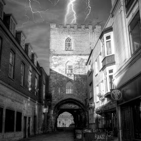 Castle Under Fire by Parker Lord - Buildings & Architecture Public & Historical ( lightning, weather, taunton, castle, storm )