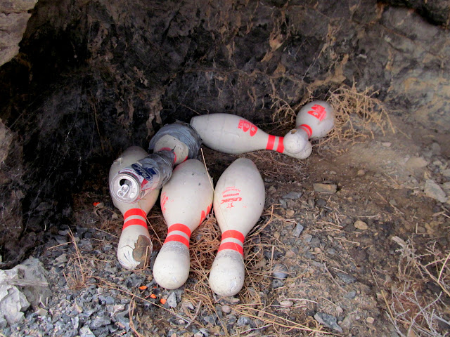 Bowling pins in a small cave