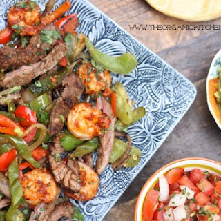 Steak and Shrimp Fajitas with all the Fixings!.