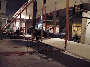 Photo: Reconstruction of the Wright Brothers' original first successfully flown self-powered aircraft.