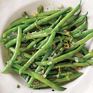 Steamed Green Beans with Lemon-Mint Dressing.
