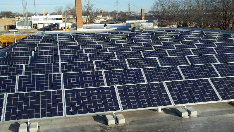 Photo: This 158 panel solar array will produce about 48.907 kWh, or enough electricity to power 13 Illinois homes each year for the next 25 years.