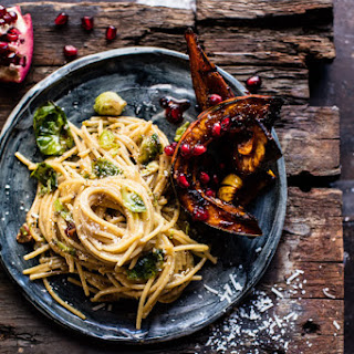 Brussels Sprout Carbonara with Chile Pomegranate Roasted Squash.