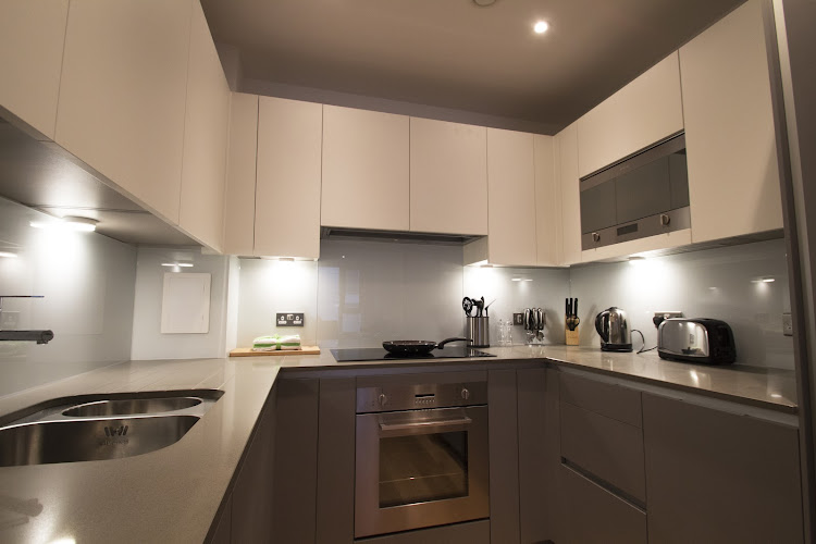 Fully equipped kitchen at Fusion Court Serviced Apartments, Shoreditch