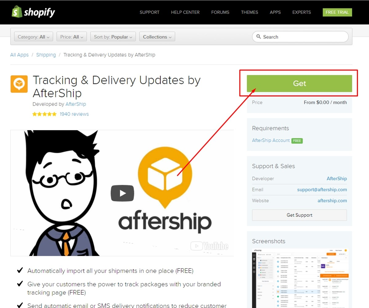 installing aftership in shopify