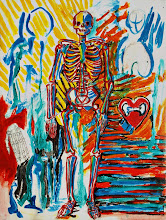 """Photo: As if Death Were a Passion, Brenda Clews, 2012, 12"""" x 16"""", graphite and acrylic on triple-primed cotton canvas sheet.  outline the skeleton in red make the lines of the bones red  alizarin crimson, cadmium red flame red, poppy bright  ok, blood too  the passion of death  as if death were a passion"""