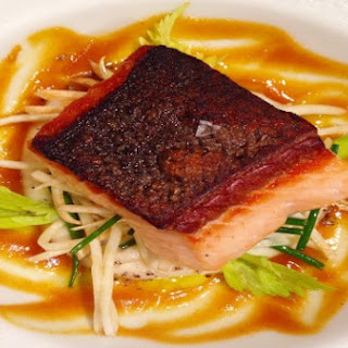 Roasted Verlasso Salmon with Saffron Date Vinaigrette, Celery Root and Almonds