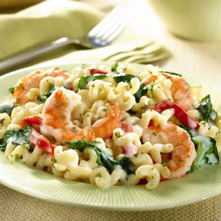 Four-Cheese Pasta with Shrimp and Spinach.