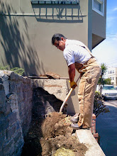 Photo: San Francisco Department of Public Works colleague Mike Jason was onsite on July 14, 2014 as part of the final effort to clear long-plugged drains at the bottom of the Hidden Garden Steps, on 16th Avenue between Kirkham and Lawton streets in San Francisco's Inner Sunset District.  For more information about the gardens and the 148-step ceramic-tile mosaic completed by project artists Aileen Barr and Colette Crutcher, please visit our website (http://hiddengardensteps.org), view links about the project from our Scoopit! site (http://www.scoop.it/t/hidden-garden-steps), or follow our social media presence on Twitter (https://twitter.com/GardenSteps), Facebook (https://www.facebook.com/pages/Hidden-Garden-Steps/288064457924739) and many others.