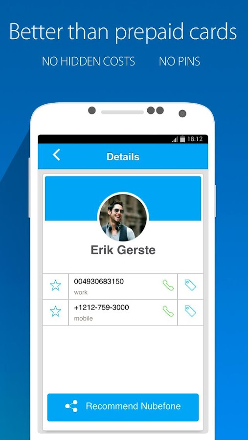Nubefone: Low-cost calls- screenshot