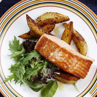 Salmon with Cajun Potato Wedges.
