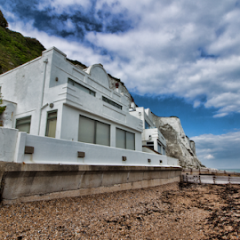 Home on the beach by Gianluca Presto - Buildings & Architecture Homes ( sky, white, united kingdom, beach, house, dover, sea, building, home, architecture )