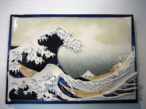 """Photo: """"The Great Wave"""" A multi-layered representation of Hokusai's The Great Wave, using porcelain slip slabs and glaze."""