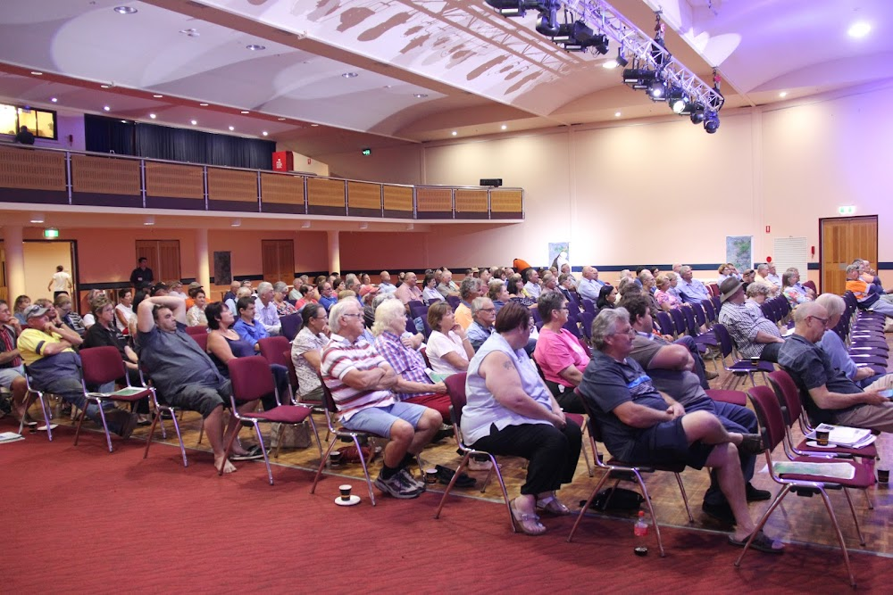 Some of the 150-strong audience at the Inland Rail meeting in Narrabri on Monday evening