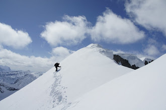 Photo: Kevin on the steep slopes below the false summit.