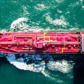 Ship on the move by Mark Luyt - Transportation Boats ( red, container ship, ocean, shadow, ship, aerial, sea )