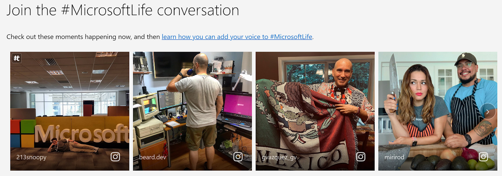 Microsoft Employee Social Content on Website