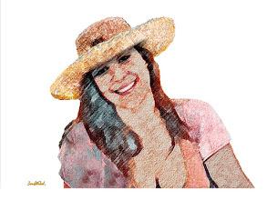 "Photo: Bruno Steinbach. ""Ana Paula- A Musa do verão"". Infogravura (pastel, lápis, aquarela, arenito), 29,7 x 42 cm, 2009, Parahyba, Brasil."