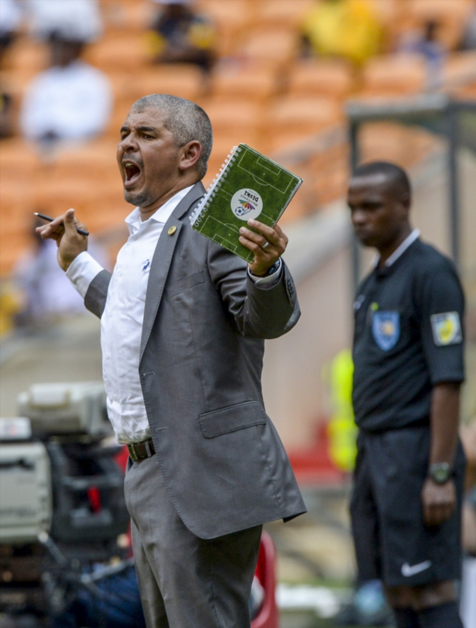 Golden Arrows coach Clinton Larsen reacts during the Nedbank Cup Last 32 match against Kaizer Chiefs at FNB Stadium on February 11, 2018 in Johannesburg, South Africa.