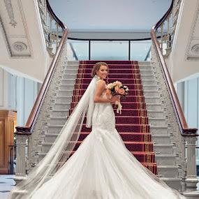 The bride by Adam Beniston - Wedding Bride ( bride, whitedress, bridaldress, wedding, steps )