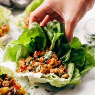 Springtime Basil Chicken Lettuce Wraps.