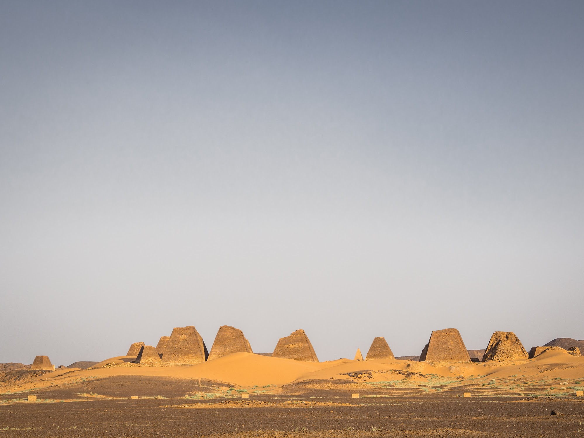 Meroe pyramids at sunset