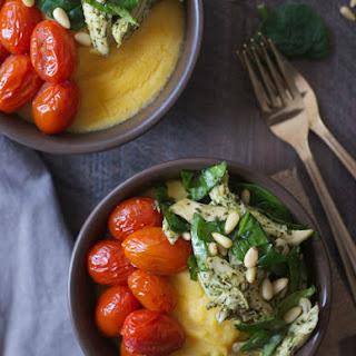 Pesto Chicken Polenta Bowls with Burst Tomatoes.