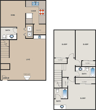 Go to Three Bedroom Townhome B Floorplan page.