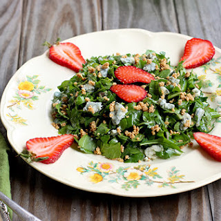Arugula Strawberry Salad with Roquefort Cheese and Toasted Hazelnuts.