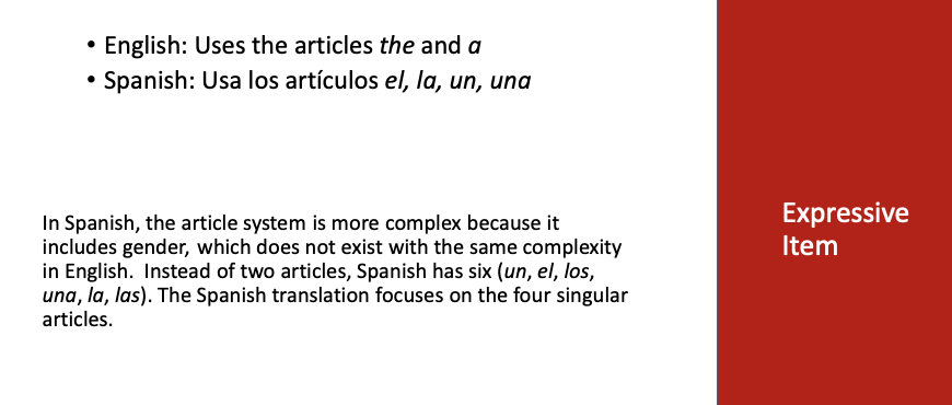 Expressive item translated for bilingual assessment - lack of equivalence between languages