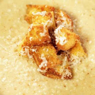 Roasted Cauliflower Soup with Parmesan Croutons Recipe