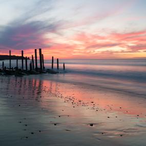Port Willunga, South Australia at Sunset by Sharon Wills - Landscapes Sunsets & Sunrises ( port willunga, south australia, old jetty ruins, sky, spectacular sky, australian, sunset, australia, sea, ocean, beach, seascape, landscape, ocean view, jetty ruins, south australian,  )