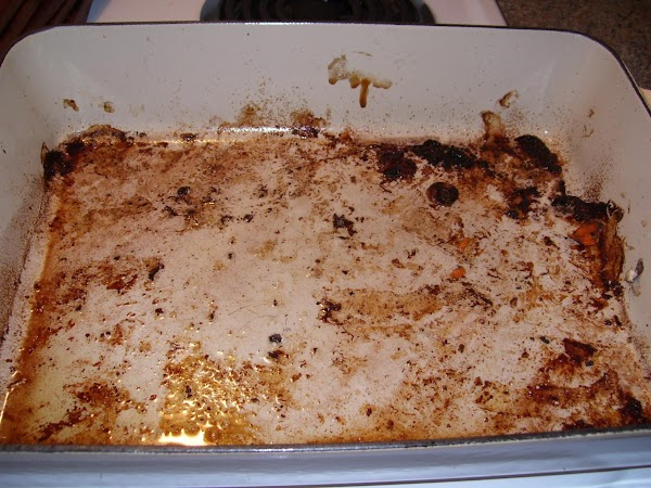 """Reserve the roasting pan with it's """"fond.""""  Fond is the combination of carmelized..."""