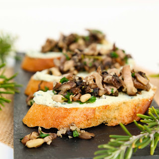 "Mushroom Crostini with Garlic Basil Vegan Ricotta ""Cheese"" Spread."