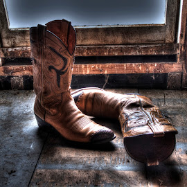 Attic Boots by JoAnn Palmer - Artistic Objects Clothing & Accessories ( cowboy, cowboy boots, cob webs, window, leather boots, dust, light, attic, leather, boots )