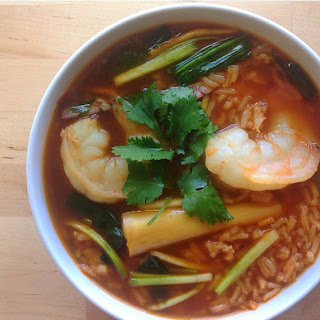 Vietnamese Tomato Rice Soup with Shrimp