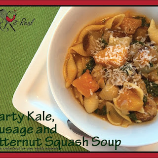 Hearty Kale, Sausage and Butternut Squash Soup.
