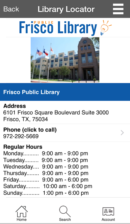 Frisco Public Library- screenshot