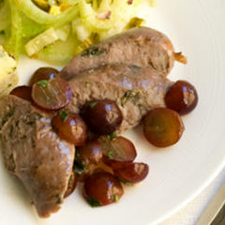 Roasted Lamb Sausages with Grape-Mint Relish