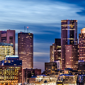 Boston Blue hour by Brad Kalpin - City,  Street & Park  Skylines ( water, skyline, boston, industrial, waterscape, blue hour, sunset, buildings, landscape, city )