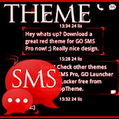 Theme Red Neon GO SMS