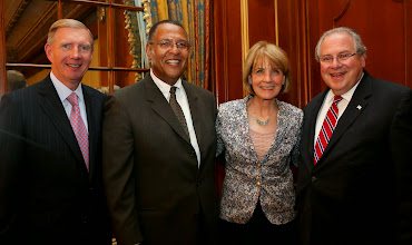 Photo: BBA President Paul Dacier, event honoree Chief Justice Roderick Ireland, Attorney General Martha Coakley, and Speaker of the House Robert DeLeo at the Citation of Judicial Excellence reception for Chief Justice Roderick Ireland.