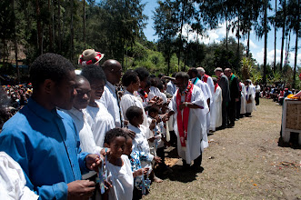Photo: Congratulating the newly baptized members of the Gutnius Lutheran Church in Papua New Guinea.