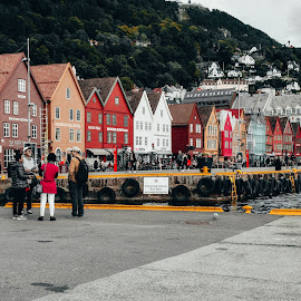 a colorful street by Yoel Bassin - City,  Street & Park  Street Scenes ( red, city, street, norway, bergen )