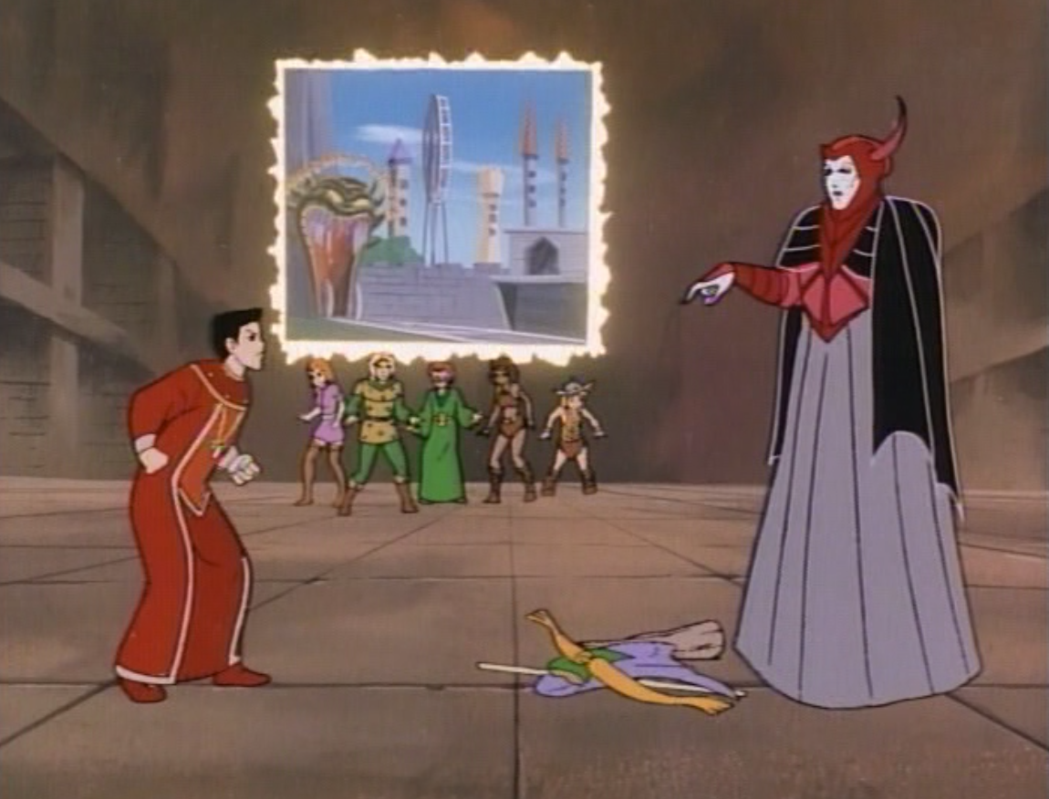 Venger confronts Eric as his friends look on.